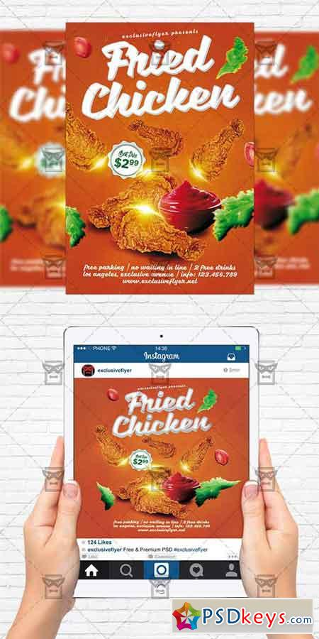 Fried Chicken - Flyer Template + Instagram Size Flyer