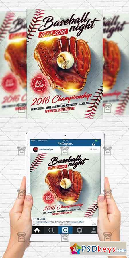 Baseball Night - Flyer Template + Instagram Size Flyer