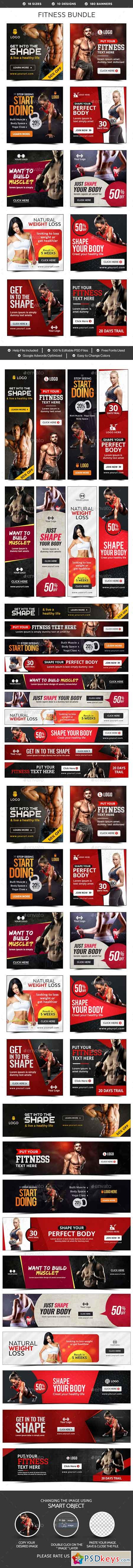 Fitness Banners Bundle - 10 Sets - 180 Banners 19460040