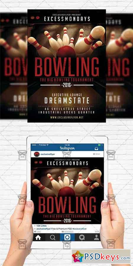 The Big Bowling - Flyer Template + Instagram Size Flyer » Free