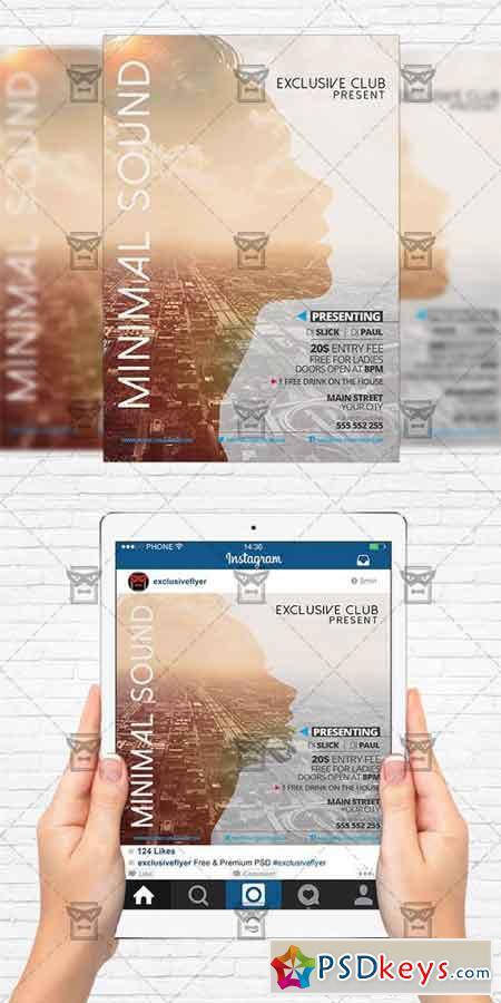 Minimal Sound - Flyer Template + Instagram Size Flyer