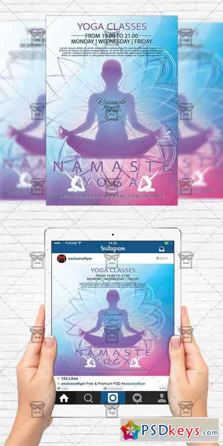 Yoga Classes - Flyer Template + Instagram Size Flyer