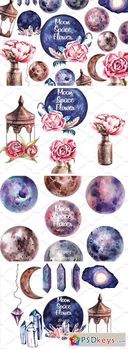 Moon Space Flower Spring Clipart 1257130