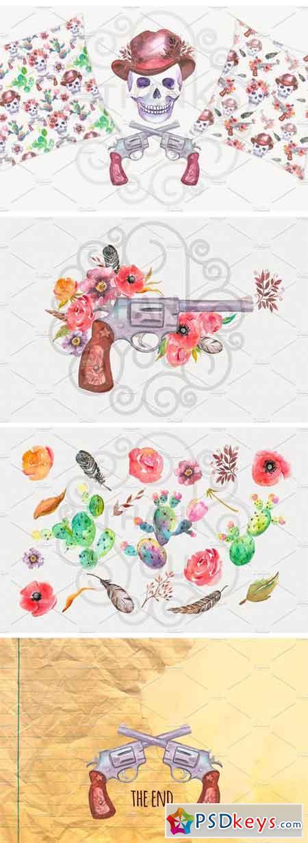 Watercolour Clipart Cowboys 1266637