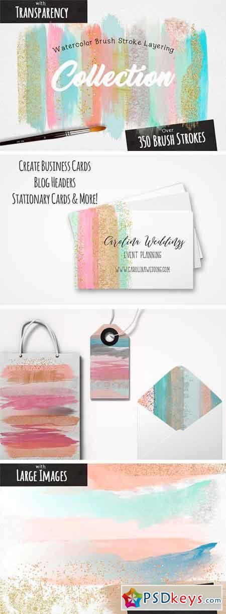 Watercolor Brush Stroke Layering Set 1257446