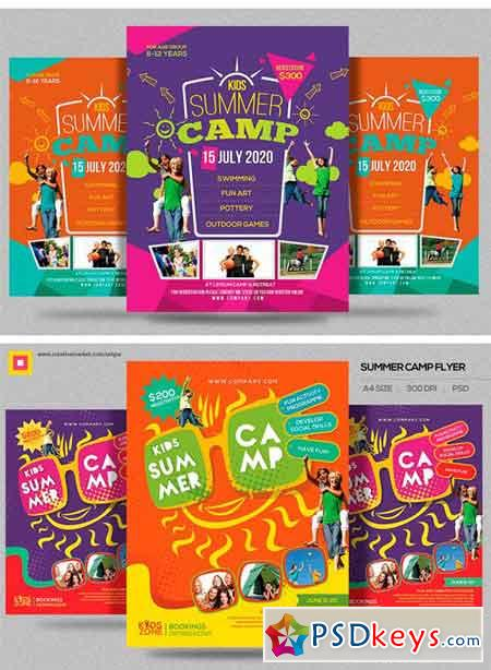 Kids Summer Camp Flyers Bundle   Free Download Photoshop