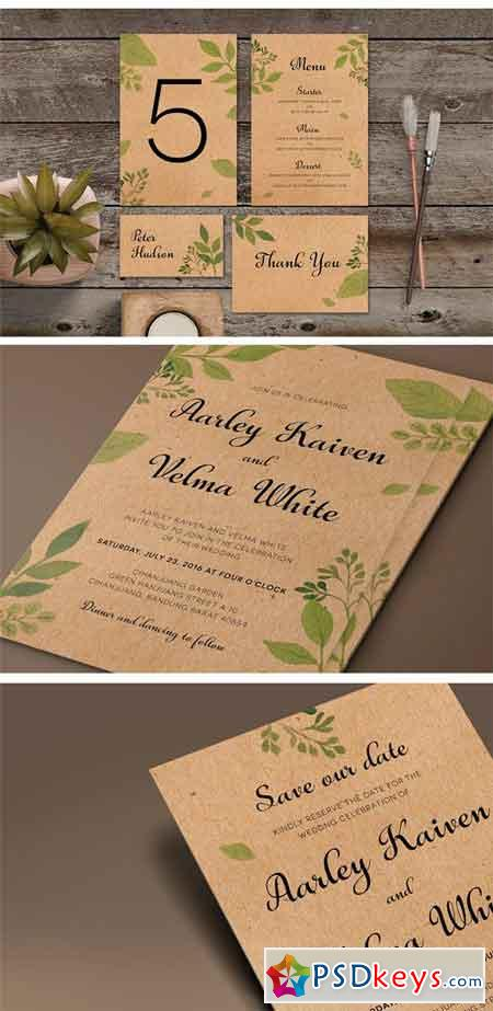 Leaves Wedding Invitation Suite 1257715