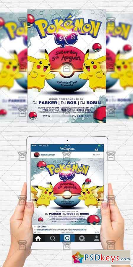 Pokemon Go Night - Flyer Template + Instagram Size Flyer