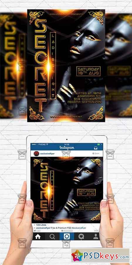 Secret Party - Flyer Template + Instagram Size Flyer