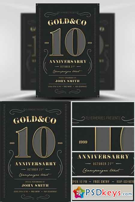 Modern Vintage Business Anniversary Flyer Template