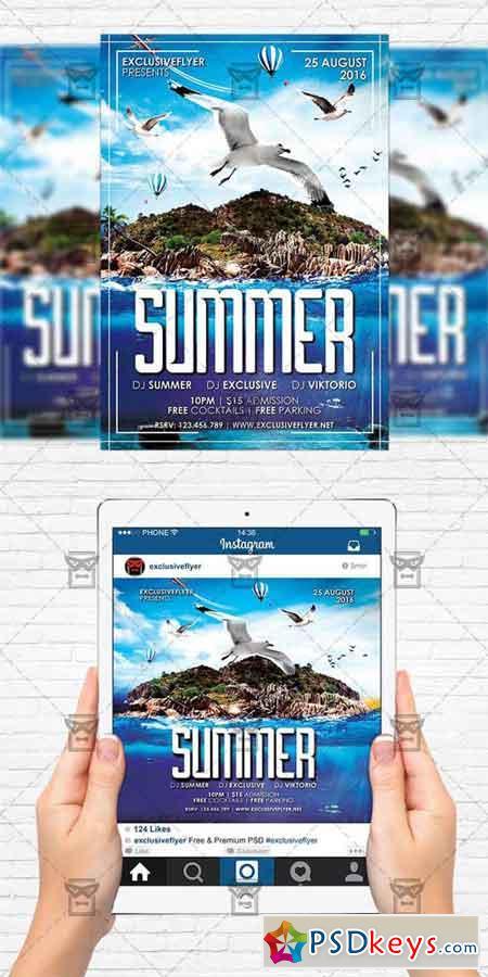 Summer - Flyer Template + Instagram Size Flyer