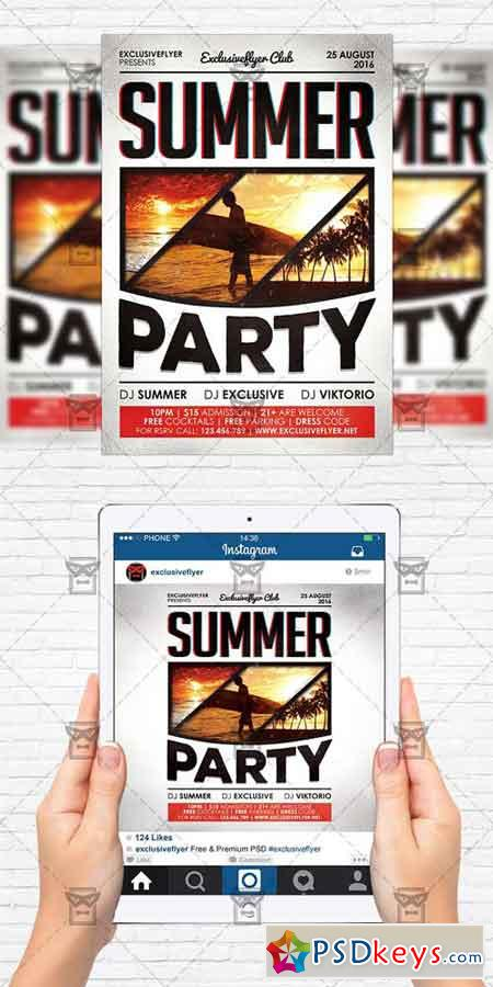 Summer Party - Flyer Template + Instagram Size Flyer