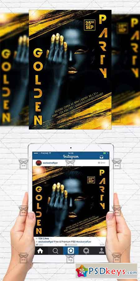 Golden Night - Flyer Template + Instagram Size Flyer