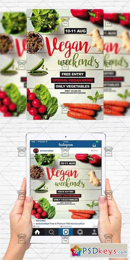 Vegan Weekends - Flyer Template + Instagram Size Flyer