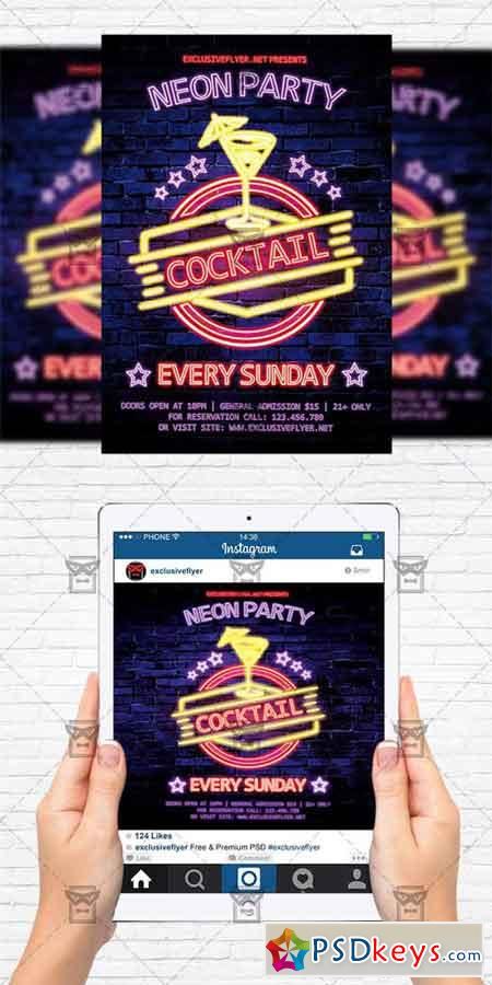 Neon Cocktail Party - Flyer Template + Instagram Size Flyer