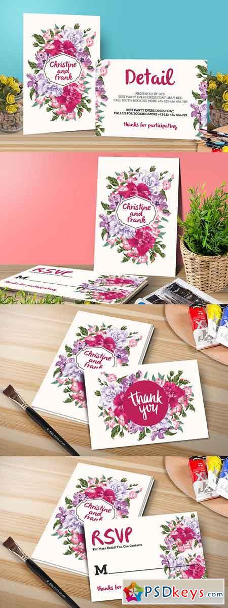 Flower Wedding Invitation Set 1122053