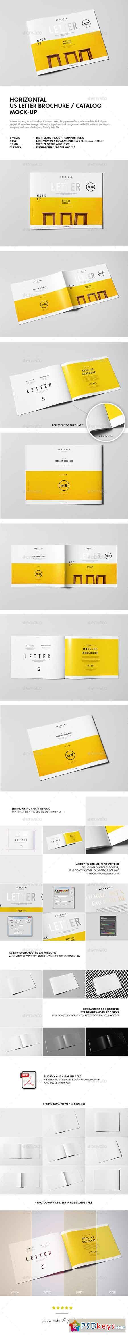Horizontal US Letter Brochure Mock-up 10293417