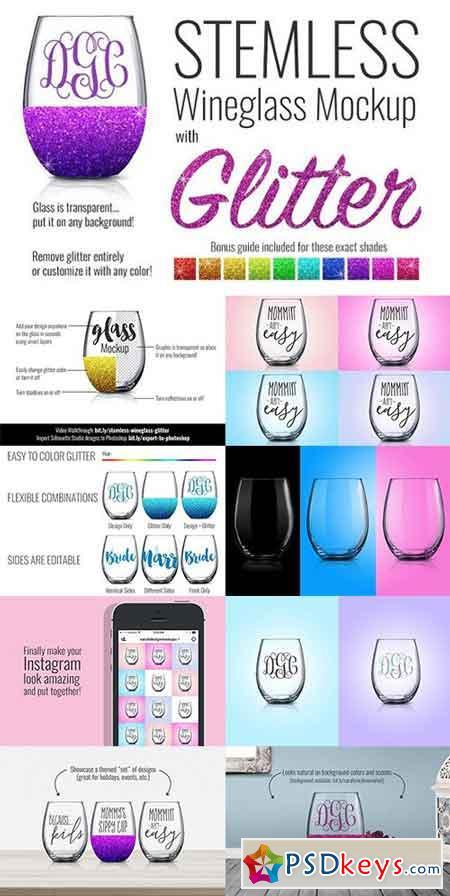 Stemless Wineglass Mockup + Glitter 1265342