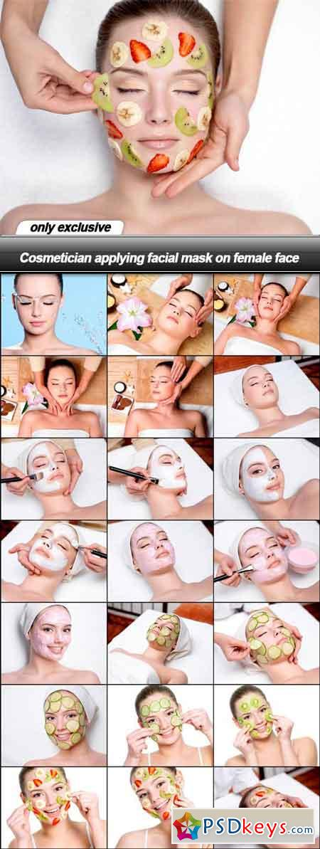 Cosmetician applying facial mask on female face - 22 UHQ JPEG