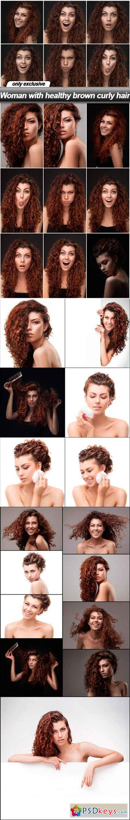 Woman with healthy brown curly hair - 25 UHQ JPEG