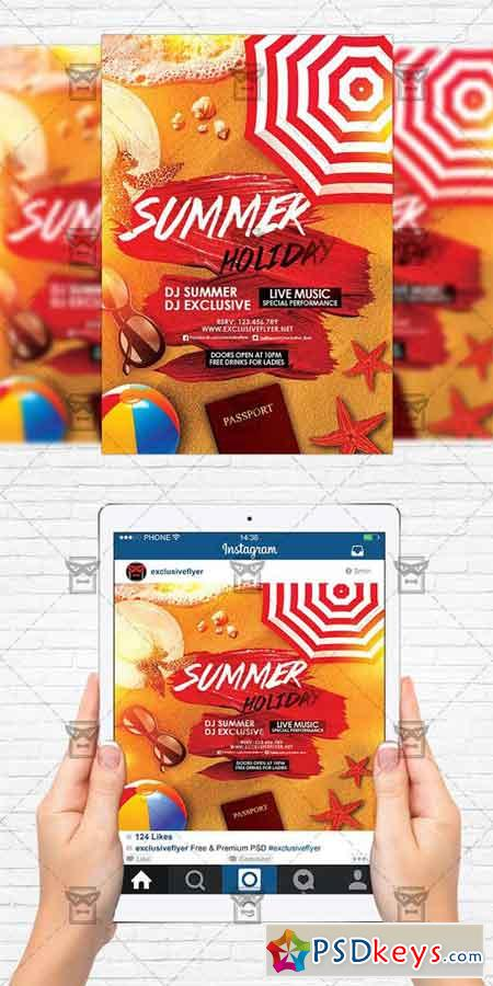 Summer Holiday - Flyer Template + Instagram Size Flyer