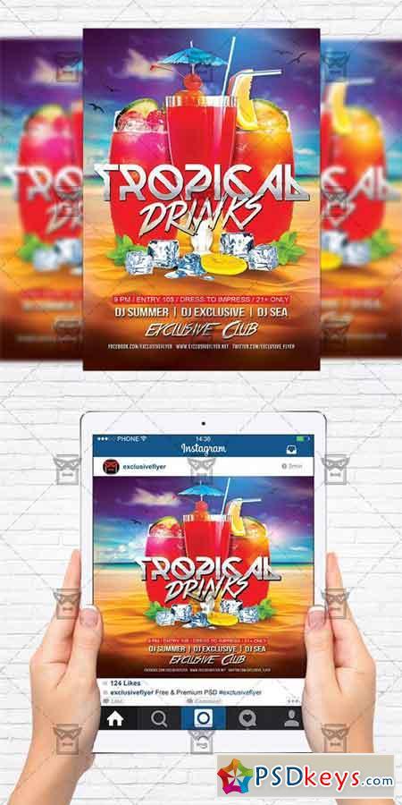 Tropical Drinks - Flyer Template + Instagram Size Flyer