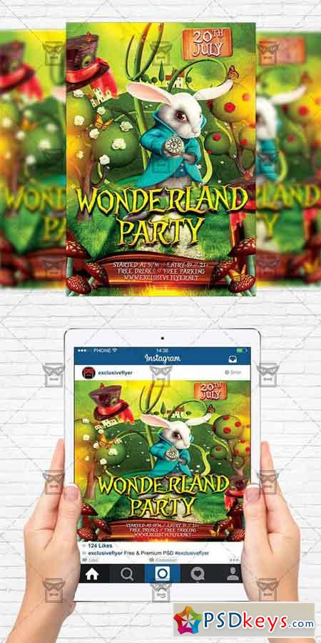 wonderland party flyer template instagram size flyer free download photoshop vector stock. Black Bedroom Furniture Sets. Home Design Ideas