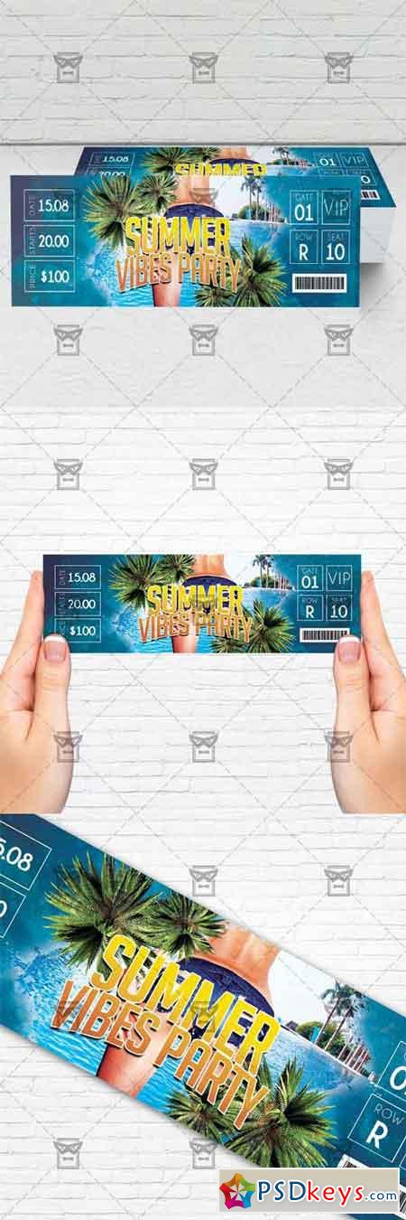 Summer Vibes Party - PSD Ticket Template
