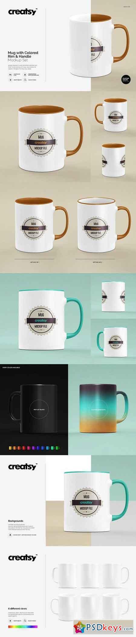 Mug Colored Rim Handle Mockup Set 1255806