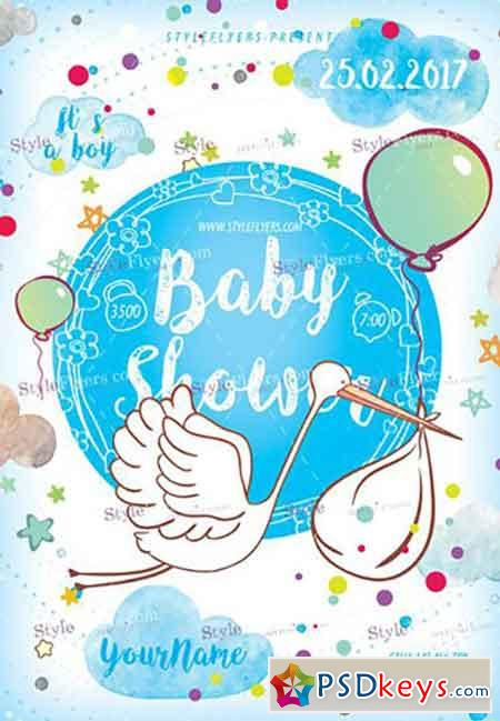 Baby Shower PSD Flyer Template  Baby Shower Flyer Templates Free