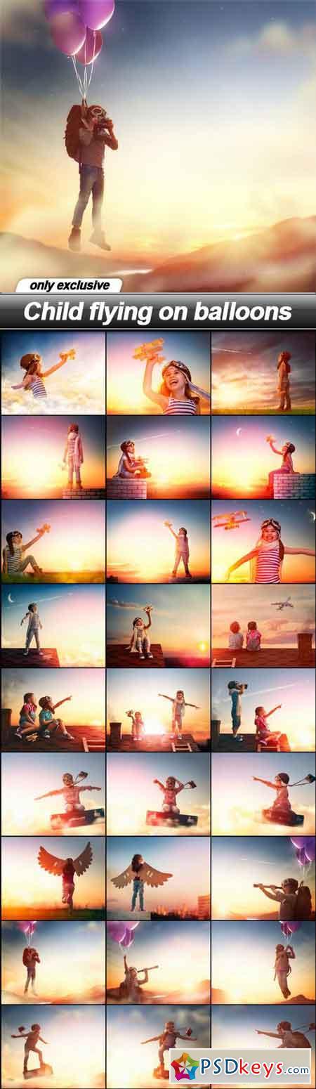Child flying on balloons - 27 UHQ JPEG