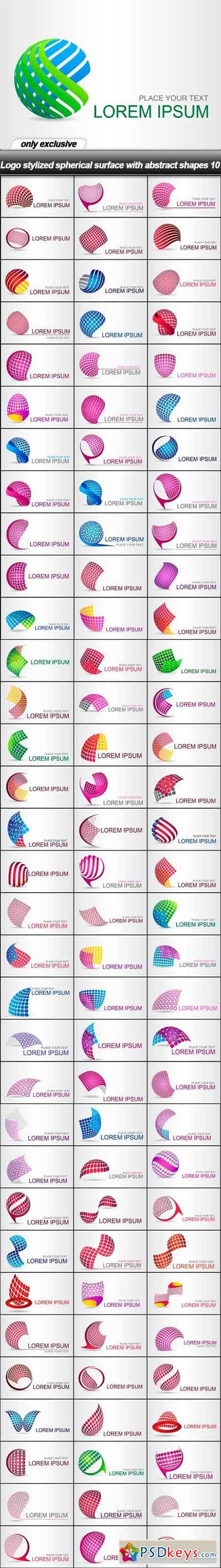 Logo stylized spherical surface with abstract shapes 10 - 100 EPS