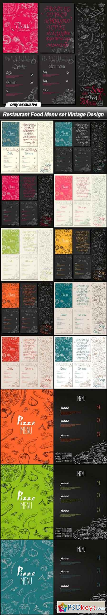 Restaurant Food Menu set Vintage Design - 13 EPS