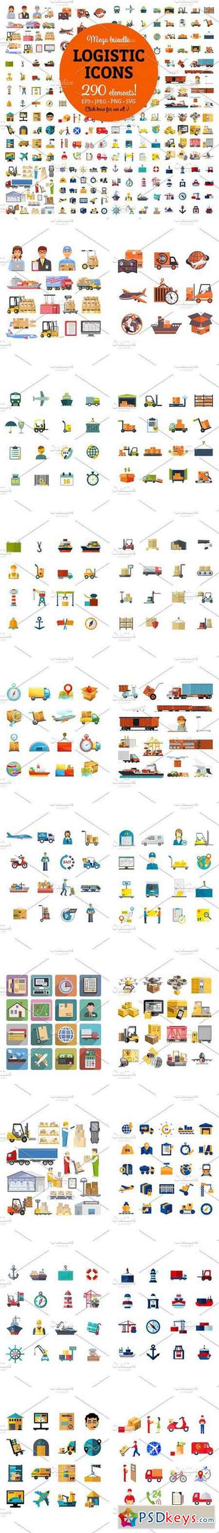 Sale! Mega Bundle of Logistic Icons 1279174