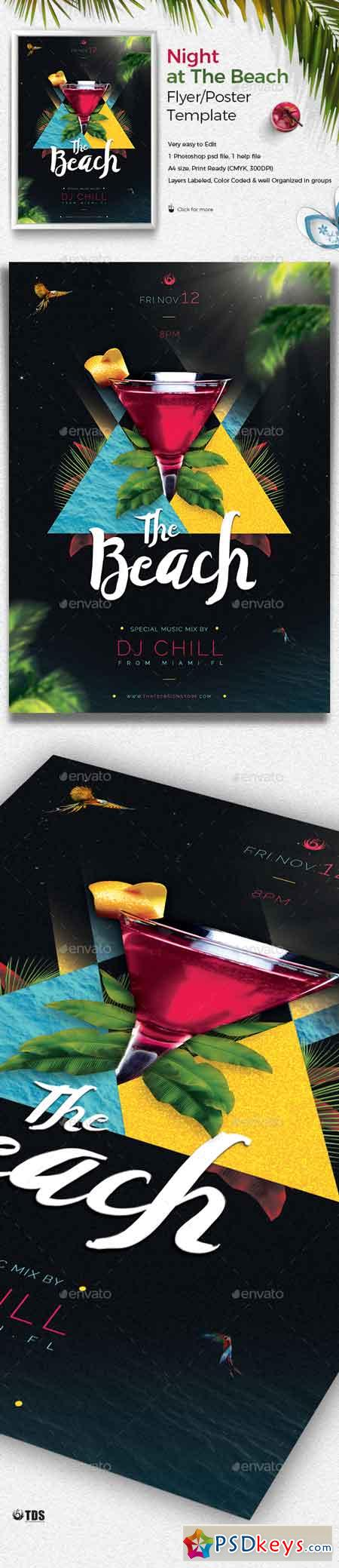 Night at The Beach Flyer Template 19516780