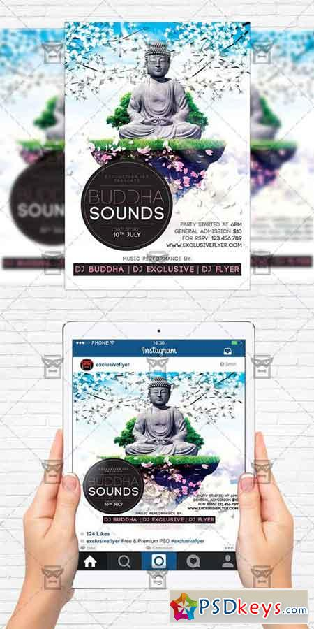 buddha sounds flyer template instagram size flyer free download photoshop vector stock. Black Bedroom Furniture Sets. Home Design Ideas