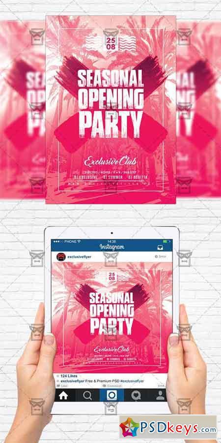 Season Opening Party - Flyer Template + Instagram Size Flyer ...