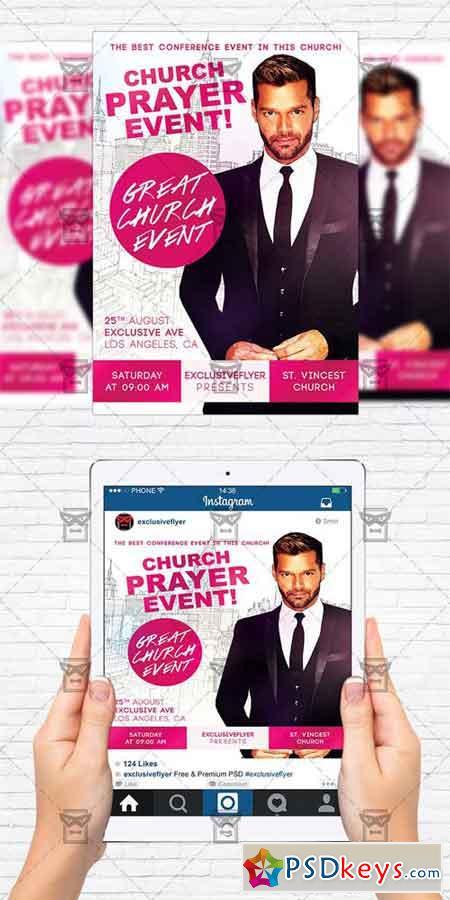 Church Praye Event - Flyer Template + Instagram Size Flyer » Free ...