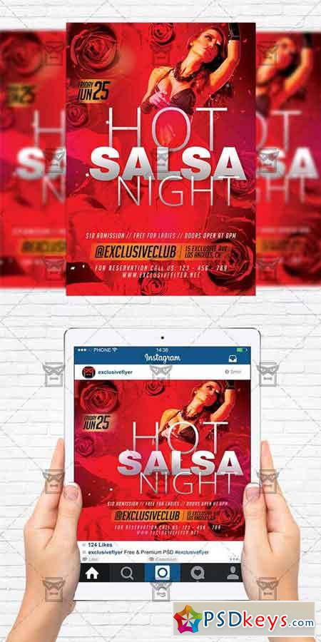 hot salsa night flyer template instagram size flyer free download photoshop vector stock. Black Bedroom Furniture Sets. Home Design Ideas