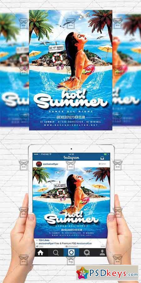 Hot Summer - Flyer Template + Instagram Size Flyer » Free Download ...