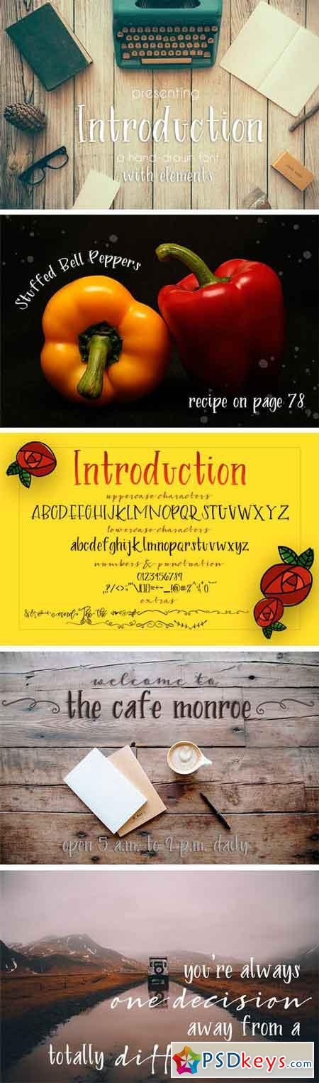 Introduction Brush Font with Extras 1294602