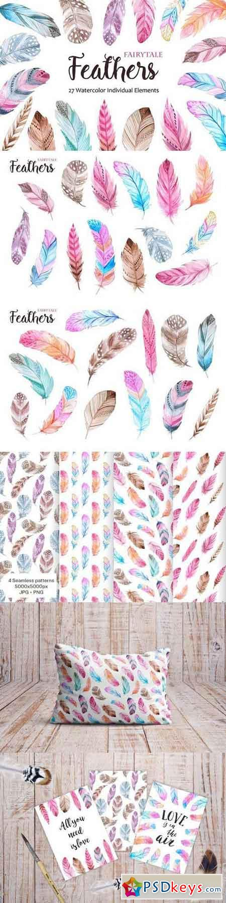 Watercolor Fairytale Feathers Set 1172147