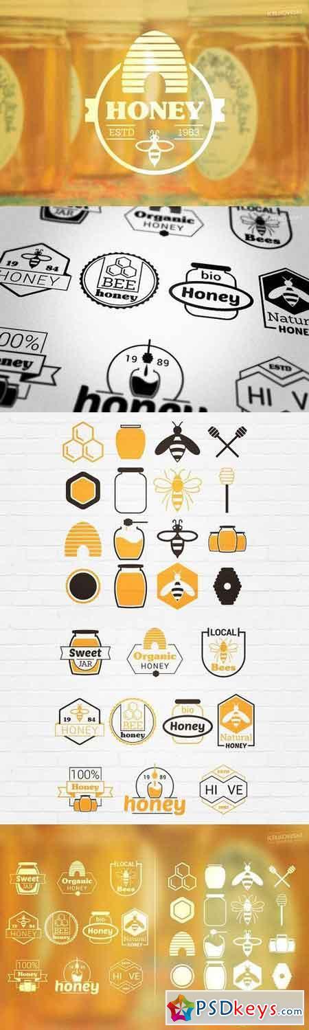 Bee Honey Vector Badges Logos 1173512