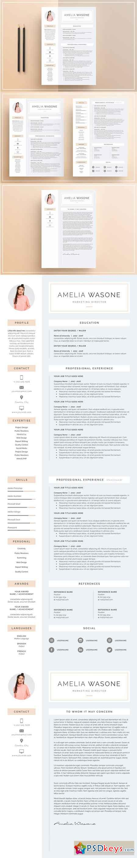 word resume  u0026 cover letter template 1173571  u00bb free download photoshop vector stock image via
