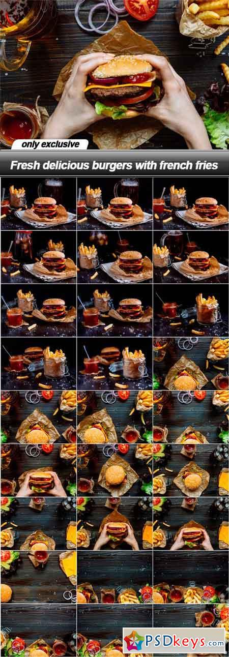 Fresh delicious burgers with french fries - 28 UHQ JPEG