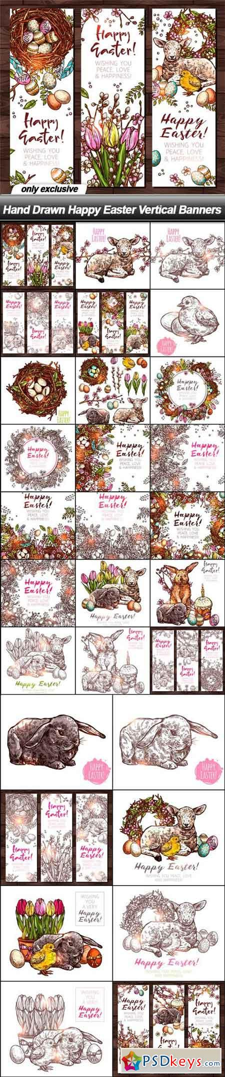 Hand Drawn Happy Easter Vertical Banners - 29 EPS