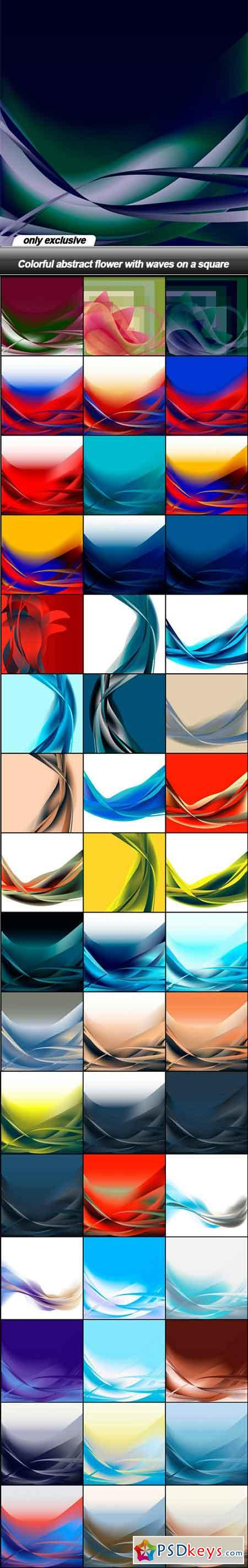 Colorful abstract flower with waves on a square - 49 EPS