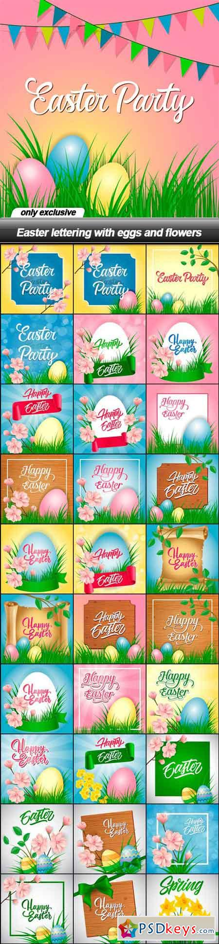 Easter lettering with eggs and flowers - 31 EPS