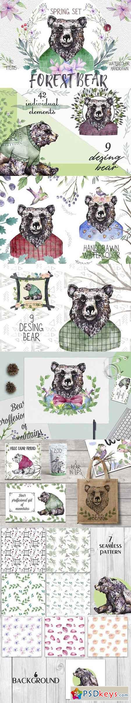 Forest Bear. Spring set 1303423