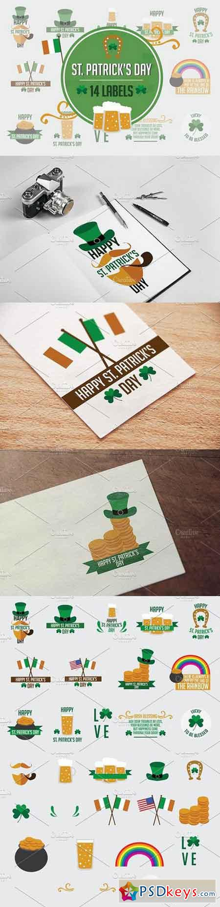 14 Labels St. Patrick's Day 1297169
